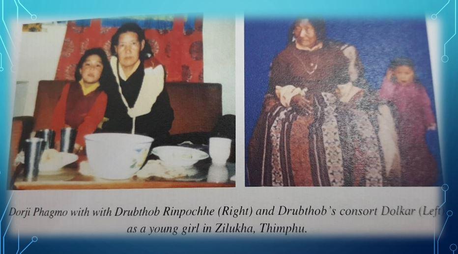 Dorji Phagmo with Drupthob Rinpochhe and Dupthob's  consort Dolkar as a young girl at Ziluka, Thimphu